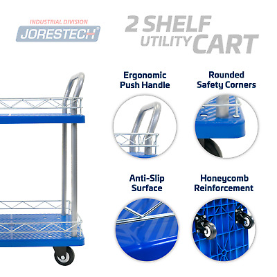 Platform Utility Cart 330lbs Dual Level Dolly Push Hand Truck Rubber Casters