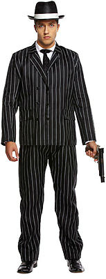 Mens Gay Ceo Fancy Dress Costume Gorgeous High Flyer Pinstripe Suit Outfit