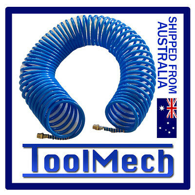 "15m Coil Air Hose Recoil Hose 8mm PU with 1/4"" NPT Fittings Free Expres Shipping"