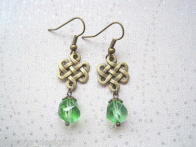 CELTIC KNOT GREEN AB BEAD DROP Antique Gold Earrings VINTAGE STYLE bronze