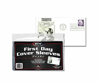 """(500) Count Lot BCW First Day Cover Sleeves #6 Envelope 3 15/16"""" x 6 7/8"""" Poly"""