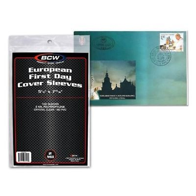 """(500) Count Lot BCW European First Day Cover Sleeves 5 1/8"""" x 7 13/16"""" Poly"""