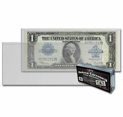 (50) Ct Pack BCW Deluxe Semi Rigid Large Bill Currency Holders For Larger Notes