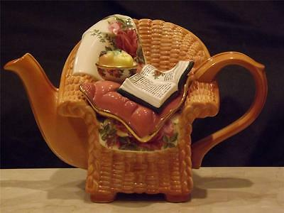 Royal Albert Old Country Roses Earthenware Paul Cardew Wicker Chair Teapot