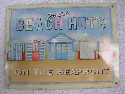 Vintage Style Good Quality Metal Sign Wall Plaque-BEACH HUTS ON THE SEAFRONT