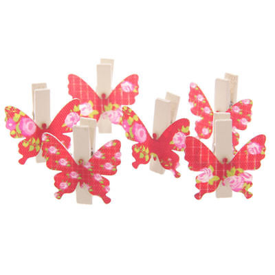 New 6 Butterfly Shaped Wooden Craft Mini Flutter Pegs Floral Pattern Red Peg01