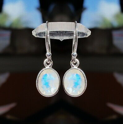 315C Rainbow Moonstone faceted gems solid 925 sterling silver earring rrp$44.95