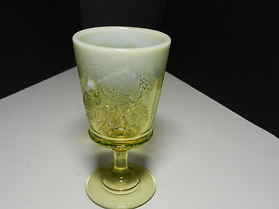 "LG Wright Strawberry & Current Water Goblet Vaseline Opalescent  6 1/2"" T"