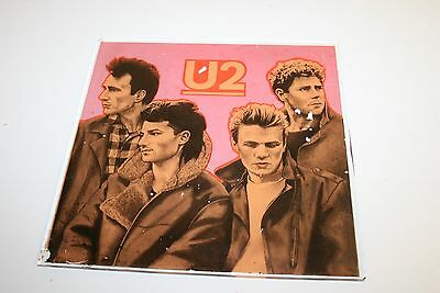 Rare Vintage 1980`s Early U2 Bono Glass Album Art Wall Hanging Carnival Prize