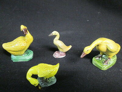 Antique Chinese Ceramic 4 Yellow Majolica Mud Geese Glazed Figurine Bird