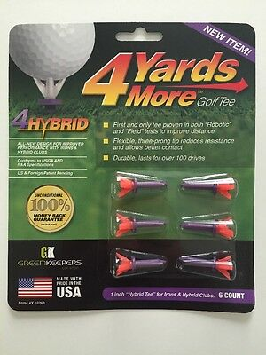 "4 Four Yards More 1"" HYBRID Purple Golf Tees 6 pack NEW"