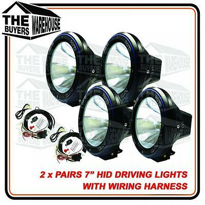 "4 x 55W 7"" HID XENON + HARNESS Spotlight OFF ROAD Driving lights 7 INCH 4x4"