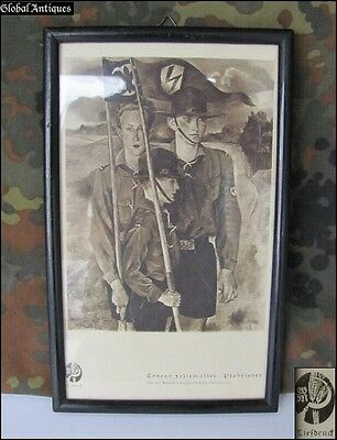 Wwii Original German Framed Poster Of Scout Organizations Very Rare