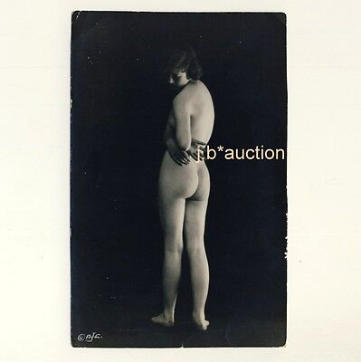 ARTFUL WOMAN'S NUDE STUDY REAR VIEW / AKT STUDIE * Vintage 20s Photo - Signed !