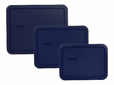 Pyrex 7212-PC 7211-PC 7210-PC Blue Replacement Storage Lid 3PK for Glass Dish