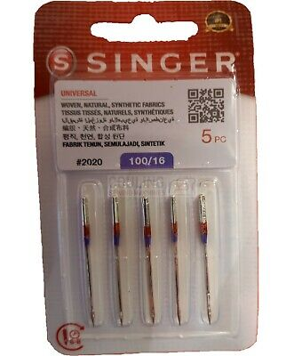 GENUINE SINGER SEWING MACHINE NEEDLES 100/16 Heavy Strong woven Fabrics 2020 x 5
