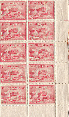 RARE stamps 2d Sydney Harbour Bridge plate dot 1 right hand side block of 10 MUH