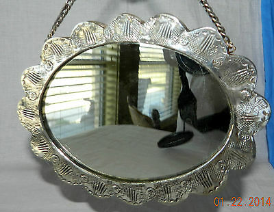 "Antique 900 Coin Silver Repousse / Hand Chased Hanging Mirror Signed 6.5"" X 5"""
