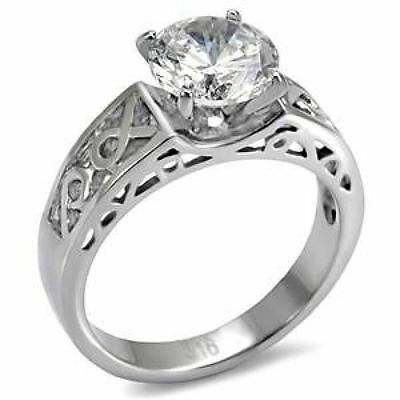 Ribbon Ring Engagement  2.43 CTW CZ Round Solitaire Stainless Steel