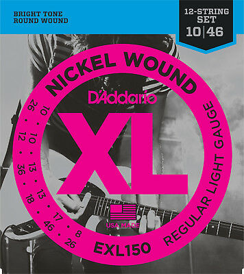 D'Addario EXL150 12-String Electric Guitar Strings Regular Light 10-46  - New