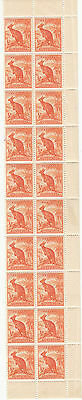 Stamps Australia 1949 Kangaroo 1/2d no watermark coil perf strip 20 with variety