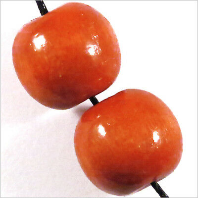Lot de 20 Perles Rondes en Bois 16mm Rouge Orangé