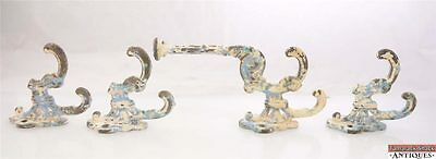 Set of 4 Antique Victorian Cast Iron Coat Hooks Large Heavy Chipping Paint 12187