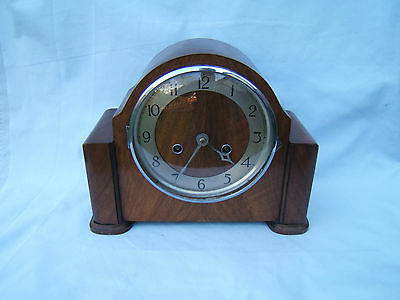 Vintage Walnut striking mantel clock NO key or pen working  needs attention  M7