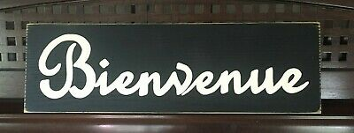 BIENVENUE French Country Chic Shabby Sign Paris Apt HP Rustic Primitive WELCOME