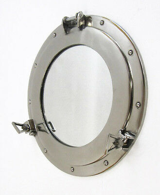 "Aluminum Chrome Finish 15"" Ship's Cabin Porthole Mirror Round Nautical Decor New"