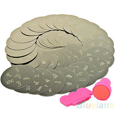 10x Nail Art Stamps Stamp Print Design Metal Plate St With Stamper Transfer Kit