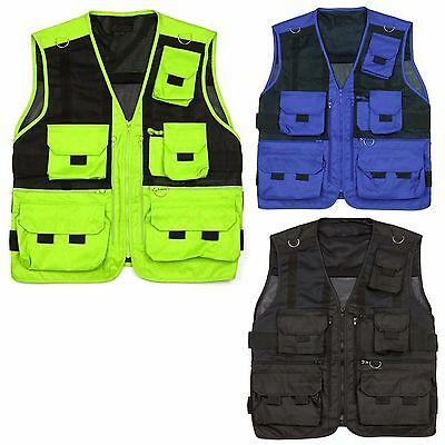 Mens Sleeveless Utility Multi Pocket Zip Hunting Fishing Shooting Hiking Vest pr