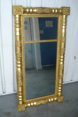 Early 19th Century Large Two Part Gilded Federal Mirror Ornate Rectangular Frame