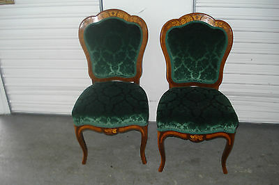 Pair Of 19th Century French Inlaid And Upholstered Chairs Of Exceptional Quality