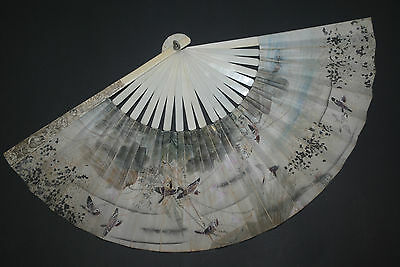 RARE ANTIQUE CHINESE CARVED FIGURAL STICKS FAN HAND PAINTED PAPER LEAF SIGNED