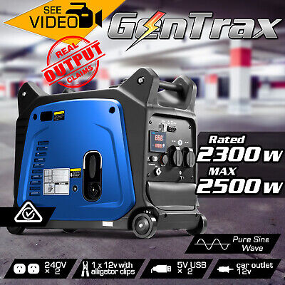 GenTrax Inverter Generator 2.5KW Max 2.3KW Rated Remote Portable Petrol Camping