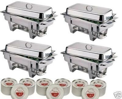 Four Olympia Chafing Dishes And 24 Tins Of Chafing Fuel *Free Next Day Delivery*