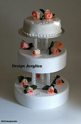 2 x FILLABLE ACRYLIC SEPARATORS / STANDS FOR 3 TIER WEDDING CAKE