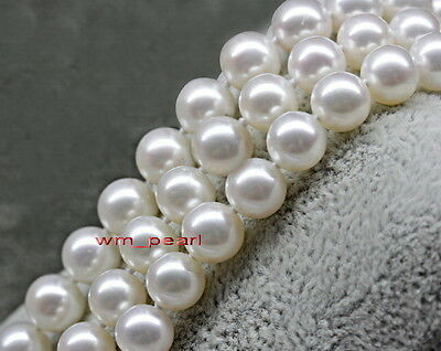 """AAAAA 35""""11-12mm REAL Natural south sea perfect round WHITE pearl necklace 14K"""