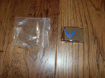 MILITARY AIR FORCE WINGS CHROME SOLID BRASS BELT BUCKLE MADE IN THE U.S.A