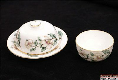 Lot-3 Crown Staffordshire Wild Rose Bone China Bowl & Butter Dish England Gold