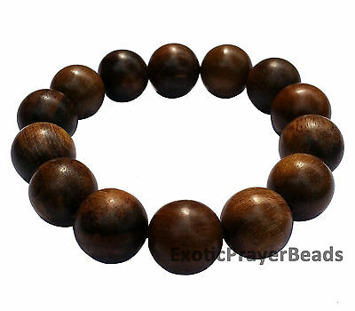 Natural 14mm Large Agarwood Oud Aloeswood Bead Bracelet w/ Elastic String Gaharu