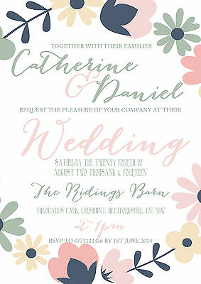 Personalised Jade Typography Floral Wedding Invitations Packs Of 10