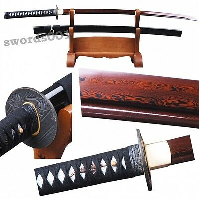 full tang Japanese black katana damascus folded steel samurai sword red blade