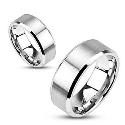 316L Stainless Steel Brushed Center Polished Edge Wedding Band Ring Size 5-14