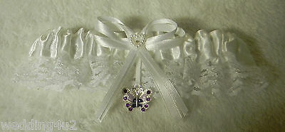 Wedding Reception Ceremony Party Satin & Lace Rhinestone Butterfly Garter
