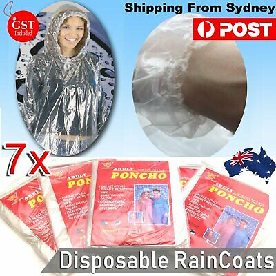 7x Disposable Ponchos Emergency Rain Coats Adult Raincoat Poncho Camping Hiking