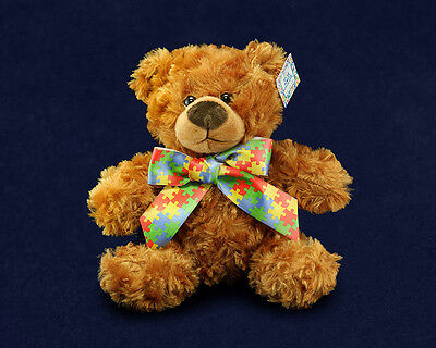 Lot of 10 Autism Puzzle Piece Teddy Bears