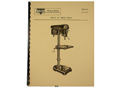 """Delta Rockwell 20"""" Drill Press Operating and Parts List Manual *846"""