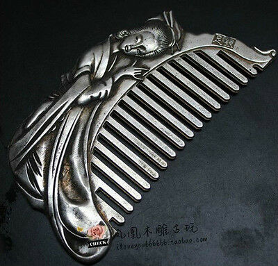 Chinese Rare Collectibles Old Handwork Tibet - Silver belle Wonderful Comb A007